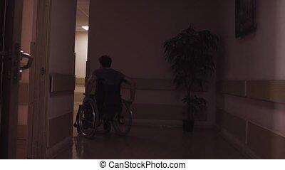 a, homme desactivé, dans, a, fauteuil roulant, dans, les,...