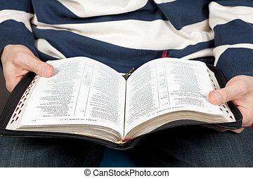 a, homme, lit, les, bible
