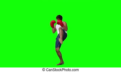 a, homme, pratiquer, kickboxing