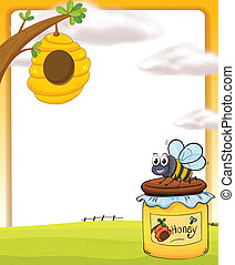 A honey bee and a bottle