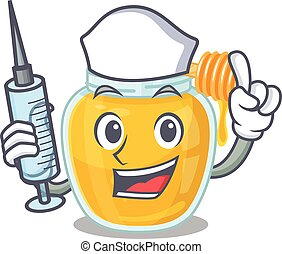 A honey hospitable Nurse character with a syringe