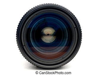 A horizontal closeup of a photographic camera lens on white