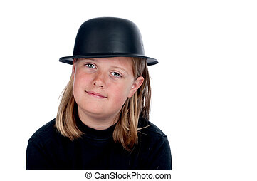A horizontal image of a female child in a back shirt and bowler hat on white