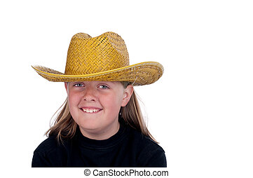 A horizontal image of a female child in a back shirt and straw hat on white