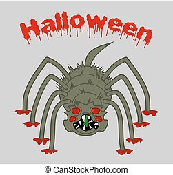 a horrible, big scary spider on halloween background
