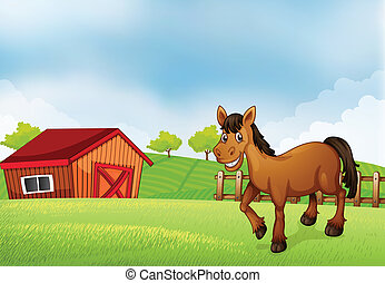 A horse at the farm with a barn at the back