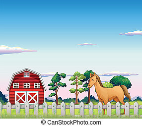A horse inside the fence with a barn