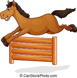 A horse jump on wooden fence