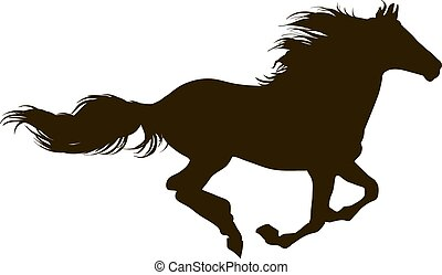 A horse runs - Drawing the silhouette of running horse