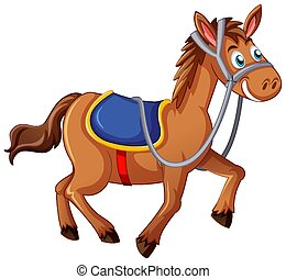 A horse with saddle cartoon character on white background