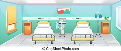 A hospital room with two beds, bedside tables and a ventilator. Fighting coronavirus in hospitals.