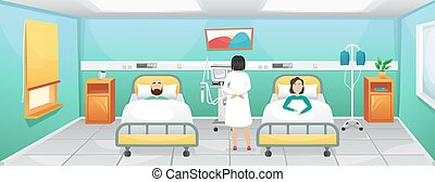 A hospital room with two beds, bedside tables and a ventilator. The doctor came to the patients lying in bed. Fighting coronavirus in hospitals.