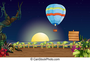 A hot air balloon in a bright full moon - Illustration of a...