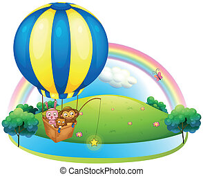 A hot air balloon with three animals - Illustration of a hot...