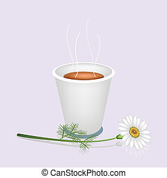 A Hot Coffee in Disposable Cup and White Daisy - Coffee...