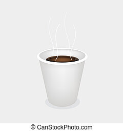 A Hot Coffee in Disposable Cup on Grey Background - Coffee...