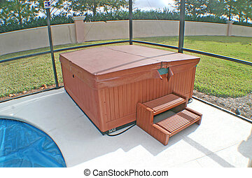 Hot Tub - A Hot Tub near to a Pool in a Florida Home.