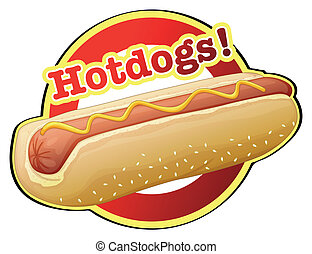 A hotdog label - Illustration of a hotdog label on a white...