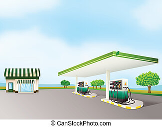 a house and a gas station