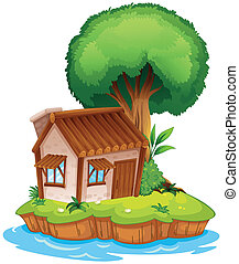 A house on an island - Illustration of a house on an island...