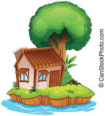 A house on an island - Illustration of a house on an island ...
