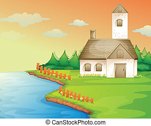 a house on the bank