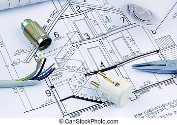 a house plan. electrical - an architect's blueprint for the...