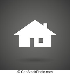 a house white icon on a dark background