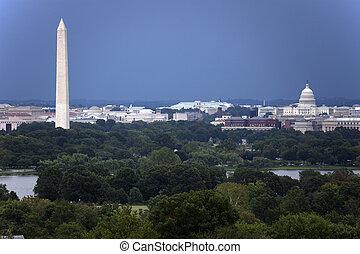a, hozzánk capitol, és, washington emlékmű