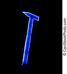 huge and tall blue neon hammer in the dark night