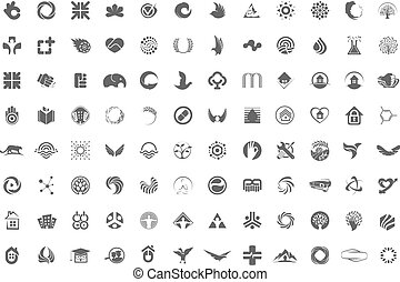 A huge collection of trendy, unusual symbols, icons or logos in one collection on a white background. Minimalist vector design elements signs.