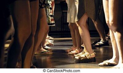 A huge crowd is dancing on a disco dance floor - A huge...