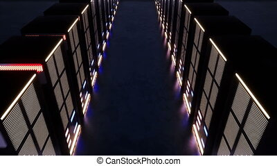 A huge data center with servers in a dark room