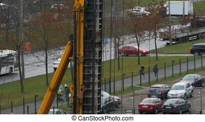 huge drilling rig at the construction site - A huge drilling...