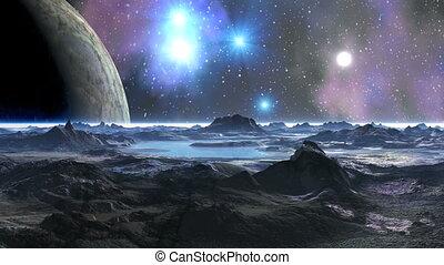 A Huge Moon in the Sky Alien Planet