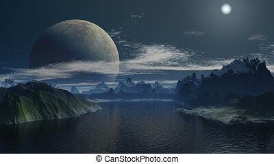 A huge moon in the sky fantastic pl