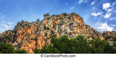 A huge mountain with blue sky and clouds, Mallorca