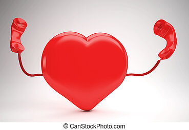 A huge red  heart using the phone