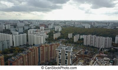 A huge residential district in gloomy weather - Aerial view...
