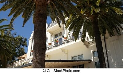 A huge white multi-storey estate in palm trees. Herceg Novi...