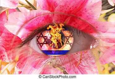 eye  - A human burning eye as flower with Stars of David