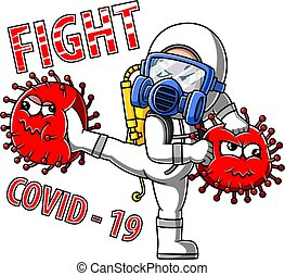A human fighting corona virus with a disinfecting firing device