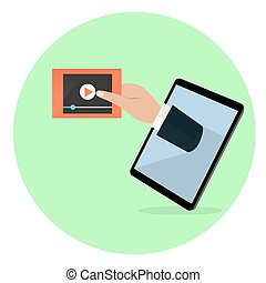 A human hand from the tablet screen holds video player screen. Modern technology, media, video symbol