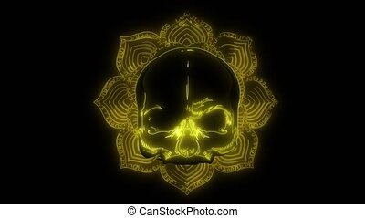 A human skull with rose laser animation - skull with rose...