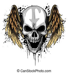 a human Skull with Wings Vector Illustration