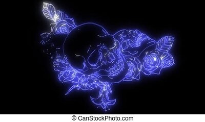 A human skulls with roses laser animation - skulls with ...