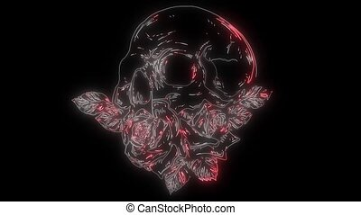 A human skulls with roses laser animation - skulls with...