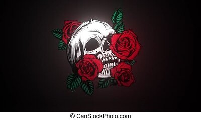 A human skulls with roses