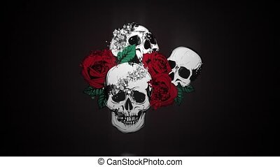 A human skulls with roses video animation