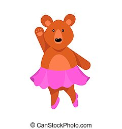 A humanized cute bear girl in pink skirt stands with her one arm raised. Vector illustration isolated on white background